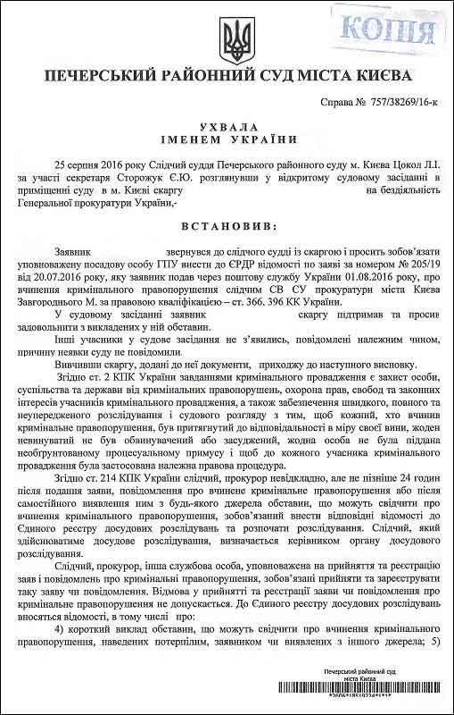 слідчий прокуратури м.Києва Завгородній М.С.