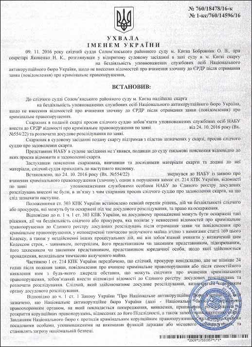 Баглик Сергій Павлович ухвала