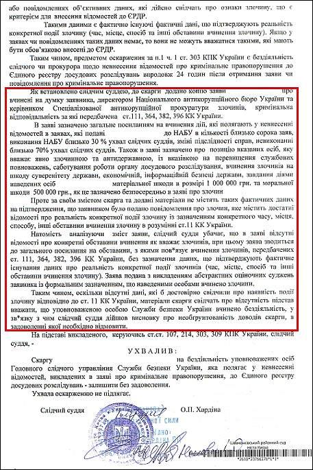 Хардіна Оксана Петрівна ухвала сбу