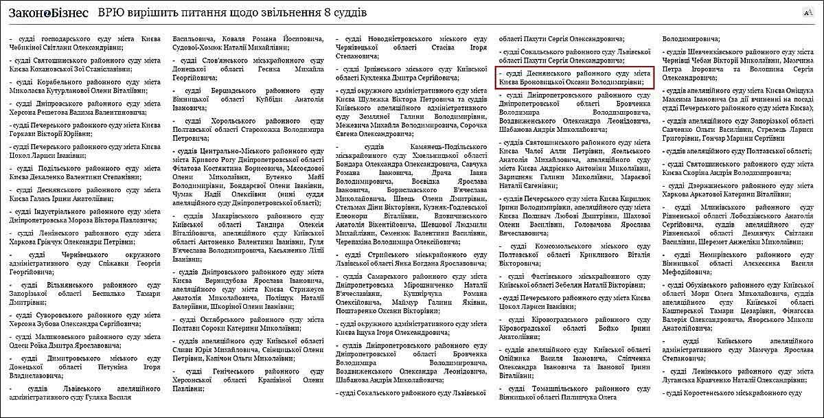 Звільнення судді Броновицької з посади судді
