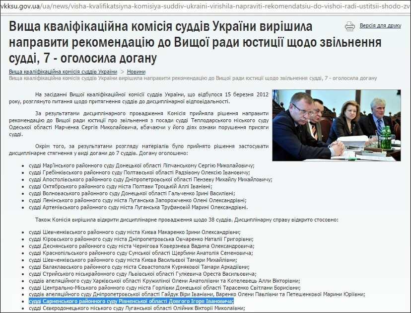 ВККСУ суддя Довгий Ігор Іванович