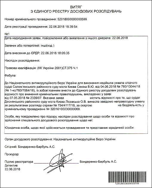Суддя Лісовська Олена Володимирівна ЄРДР 2