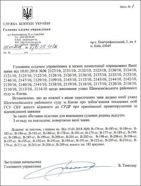 Грицак Василь Сергійович лист-відмова